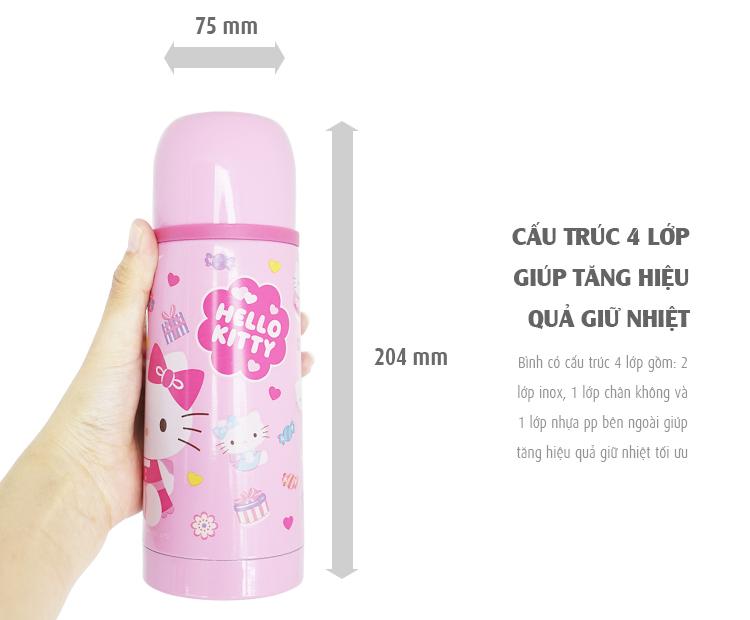 9. Bình Giữ Nhiệt Lock&Lock Hello Kitty Lovely Dot HKT302W (350ml)
