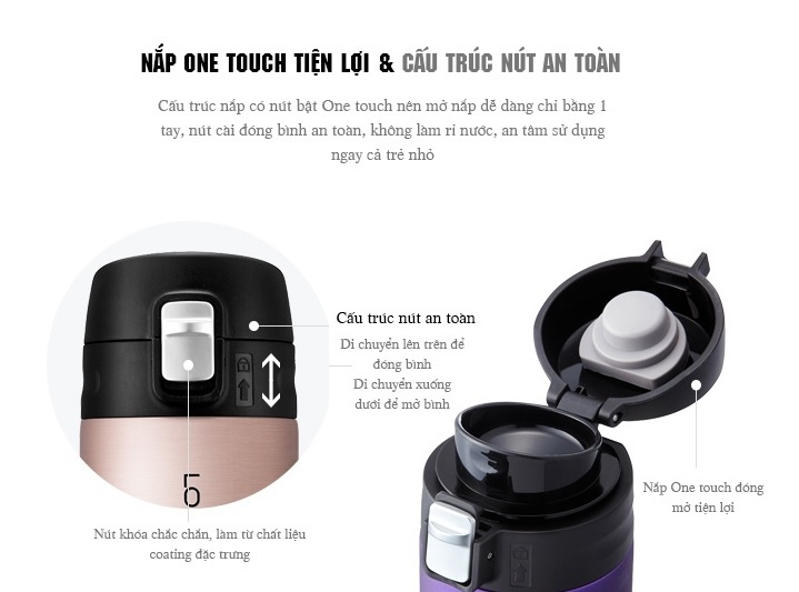 Bình Giữ Nhiệt Lock&Lock Feather Light LHC3220 500ml