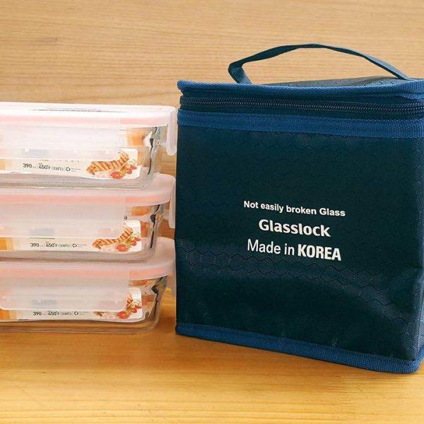 Bộ-Hộp-Cơm-Thủy-Tinh-Glasslock-390ml3-kèm-túi-giữ-nhiệt