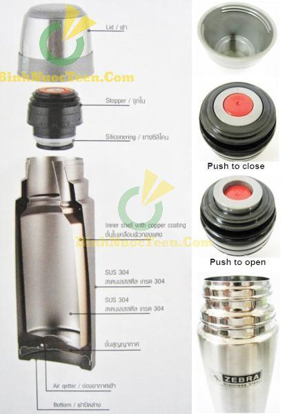 Bình Giữ Nhiệt ZEBRA - 11295X Prima II 450ml-800ml-1000ml 1