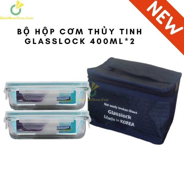 Bộ Hộp Cơm Thủy Tinh Glasslock 400ml*2 - HDC-06 Kèm Túi Giữ Nhiệt 4