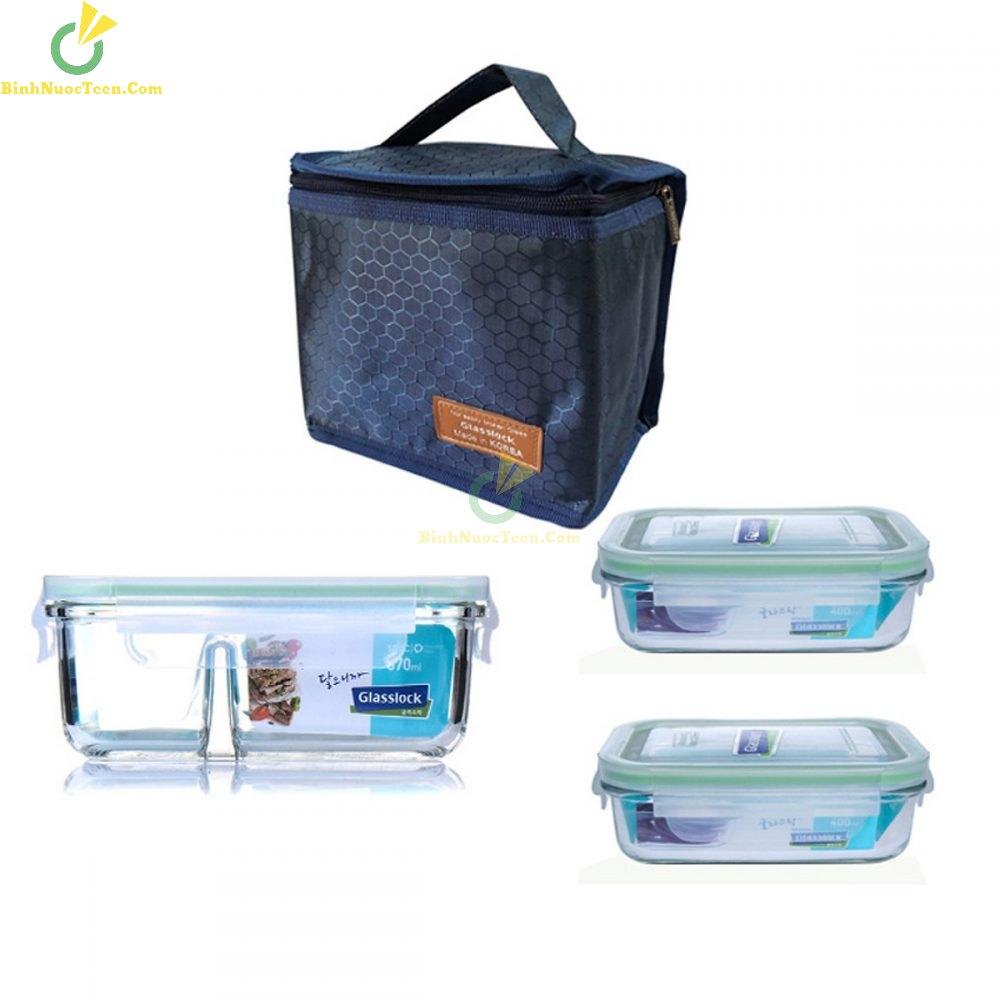 Bộ Hộp Cơm Thủy Tinh Glasslock 400ml*2 + 670ml Chia Ngăn Kèm Túi Giữ Nhiệt 5
