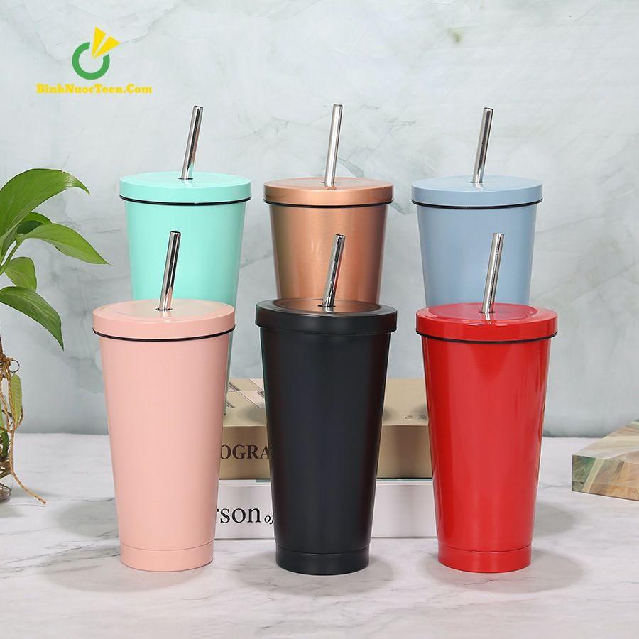 Ly Giữ Nhiệt Cafe 500ml Có Ống Hút Inox 304 Q209 3