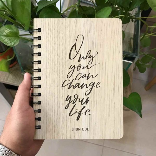 sổ tay bìa gỗ khắc tên