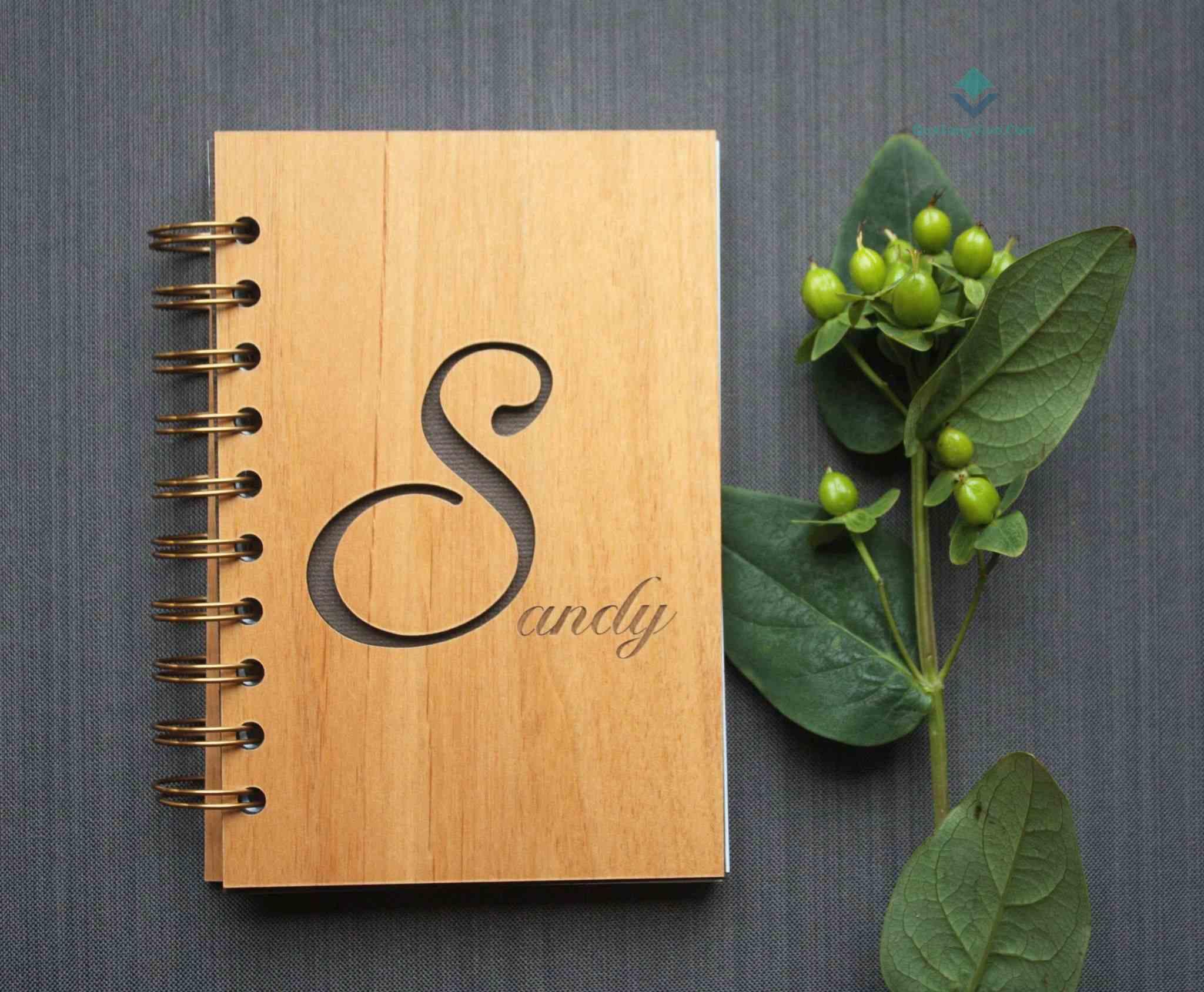 sổ tay bìa gỗ khắc logo