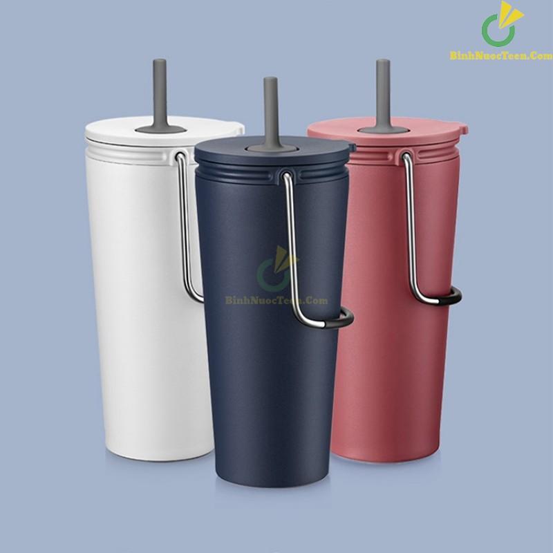 Bình giữ nhiệt có ống hút Lock&Lock Bucket Tumbler with Straw LHC4268 1