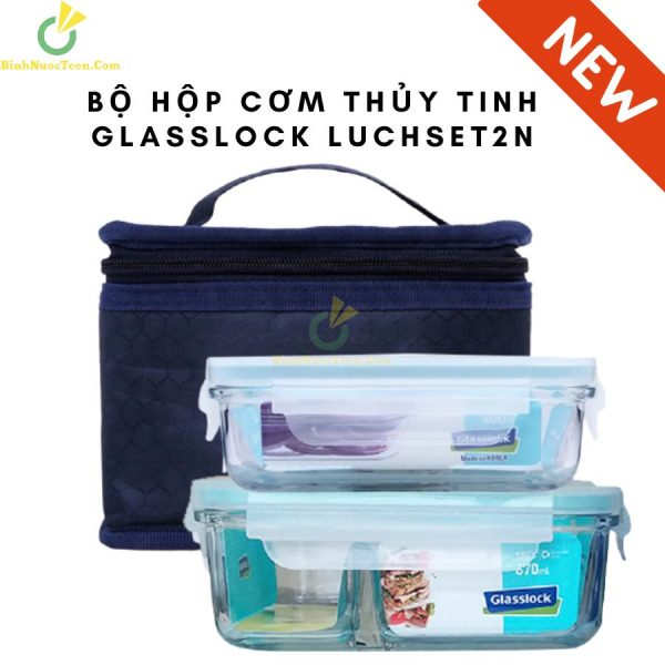 Bộ Hộp Cơm Thủy Tinh Glasslock Lunch Set 2 Chia Ngăn 3